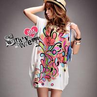 2013 summer loose plus size long design 100% T-shirt cotton short-sleeve dress women's batwing t shirt
