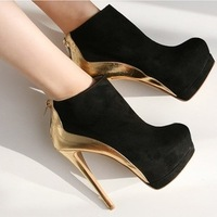 Hot Sale Free Shipping 2013 autumn winter waterproof spell color high-heels Plus velvet shoes women Ankle boots