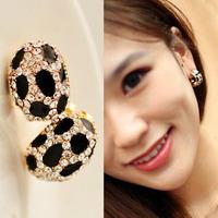 Min Order 12$ 2014 new, high quality, rhinestone leopard stud earrings, fashion jewelry ES0468