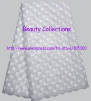 FREE shipping by DHL african lace fabric organza net lace with many sequins wedding/party lace BCL001002 white