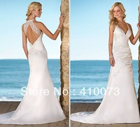 free shipping 100% high quality royal bridal backless wedding dress
