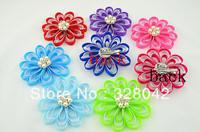 Trail order 4'' girl loopy Grosgrain Ribbon flowers with pearl clip DIY satin handmade flowers brooch hair accesories 12pcs/lot