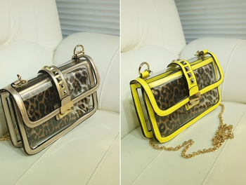2013 summer fashion show rivets women's handbag chain jelly bag transparent bag messenger bag