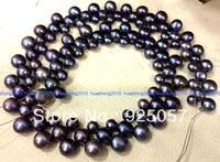 6-8mm 3-row Black Tahitian Cultured Pearl 15'' AAA Fashion jewelry
