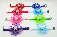 Trail order 4''Grosgrain Ribbon flowers headbands Girls party satin ribbon flower Princess hairband Hair Accessories 12pcs/lot