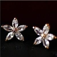 free shipping lovely zircon inset flower shape earring studs