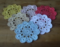 Free Shipping Fine craft handmade Crochet Doily mat 11 cm crochet cup mat coaster 20pcs/lot Light blue Physical picture 100%