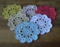Free Shipping Fine craft handmade Crochet Doily mat 11 cm crochet cup mat coaster 20pcs/lot Light blue Physical picture 100%