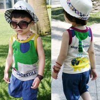 Boys summer child clothing 2013 100% cotton baby clothes vest shorts short-sleeve sports set