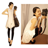 Mushroom the trend of women short-sleeve T-shirt medium-long chiffon shirt summer sleeveless shirt top