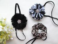"Girls Hair Accessories 2.5"" Chiffon Shabby Flower with narrow Headband for baby photograph 40pcs/lot"