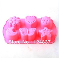 6 holes Moon Buttterfly Candy Sweet Chocolate Jello Silicone Baking Mold Ice Cube Tray cake decorating bake tools