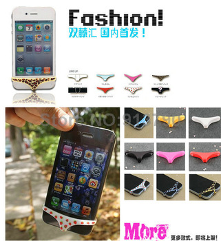 10pcs lots Panty Panties dust plug Ear plug Short anti Dust-proof Pen For Apple cellphones for iPhone 5 G 4S with package TX4A44