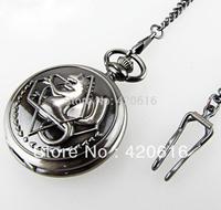 2013 Fashion New Retro Silver Tone Fullmetal Alchemist Pocket Watch Cosplay Anime Edward Elric Anime Free Shipping 10pcs/lot