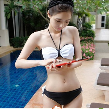 Spa sexy ruffle bikini black and white triangle lacing female swimwear small mm push up female swimsuit