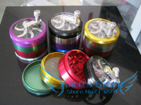 Free shipping 1pcs Hotsale Fashion aluminum Colored 4 layer Tobacco Grinders hand Grinder Machine Promotion