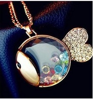 Populae Gift ! Fashion necklace!!! N342 Hot Crystal Vivid Cute Fish necklace Jewelry !Minimum Order $ 10, free shipping!
