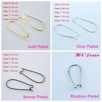 Wholesale Fashion Jewelr /Earring Making DIY Handmade Findings Accessories Metal Hoop Earring Ear Hooks Wires 4 Colors 5 Sizes
