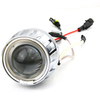 35W HID Bi-Xenon Motorcycle Projector Lens Kit H7 H1 H4 White Angel Eye White Devil Eye light Angeleye