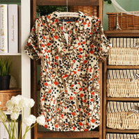 Free shipping 2013 spring and summer women's vintage V-neck loose chains short-sleeve chiffon shirt top