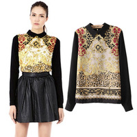 Free shipping/Spring new printing totem long-sleeved all-match trendsetter ladies bottoming shirt/Wholesale+Retail 9117