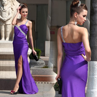 Lan kwai fong 2150 purple formal dress one shoulder cheongsam legs beading pageant dresses