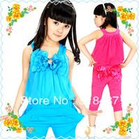 Children set female child set child harem pants spaghetti strap vest bow casual sports set