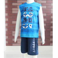 Free Shipping! 2013 New boys 2pc set Fashion sleeveless round neck t-shirt and short pants size #4-#10  2966K
