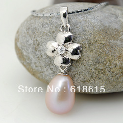 Free shipping dz0104-3 natural freshwater 8mm purple pearl pendant half siver carve 925 lucky four leaf clover fashion necklace(China (Mainland))