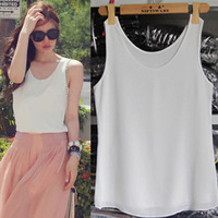 Summer double layer plus size sleeveless chiffon spaghetti strap vest female basic shirt high quality loose top