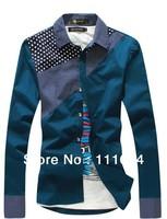 Men's clothing base New arrival Mr.DT Spring Slim Korean Fashion Check Flannel Long-sleeved plaid shirts