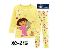 Комплект одежды для девочек 6sets/lot girls clothing sets, Princess short sleeve t shirts & pants, children Cartoon pyjamas baby pajamas XC288