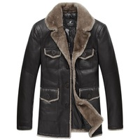 SALE EMS FREE SHIPPING Luxury sheep wool fur one piece leather clothing leather casual medium-long male fur coat  Leather Jacket