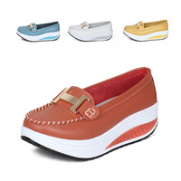 Fashion slimming metal decoration swing shoes platform shoes women's shoes