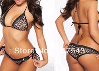 For Women Free shipping Free size black leopard print Swimsuit Swimwear Bathing Suit No Padding Bikini bra&underpants Sets BN04