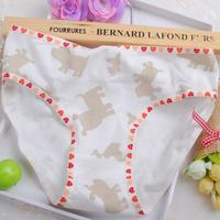 100% cotton cartoon dog heart loose slim hip briefs panty underwear