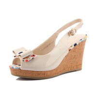 2013 female shoes bow high-heeled wedges flat open toe sandals 132137070