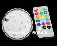 Battery operated remote control assorted color 10 led Color changing submersible Wedding light Base Vase100pcs/Carton-Multicolor