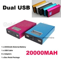 Portable Metal Power Bank 20000mAh External Battery Backup Pack Universal Dock Dual USB For iPhone 4 4S 5 HTC iPad Laptop