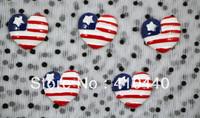 "50pcs USA Flag in Heart FlatBack Resins Scrapbooking Embellishment  1""  Free shipping"