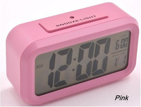 LED Alarm Pink Clock+Snooze+Background Noctilucent Light