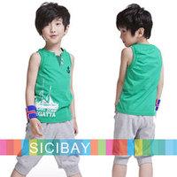 6sets/lot Kids Tracksuit Wholesale Boy Sport Suits Children Summer Clothing Set lot,Cool Vests + Harem Pants,Free Shipping K0981