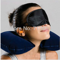 Free shipping Travel Neck Air Cushion Pillow + eye mask + 2 Ear Plug