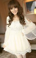 2014 summer women trend sweet princess lace decoration elegant fashion o-neck gauze one-piece dress female free shipping