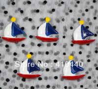 "50pcs USA Flag Sailing FlatBack Resins Scrapbooking Embellishment  1""  Free shipping"