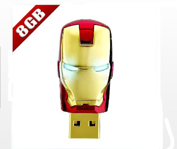 New Fashion Avengers Iron Man LED Flash 8G USB Flash disk free shipping(China (Mainland))