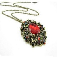 Min. Order is $10 ( Can Mix order ) ! Fashion accessories vintage flower long ruby necklace design necklace xl134