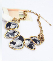 Fashion vintage accessories multicolour gem fashion geometry short design metal chain x302