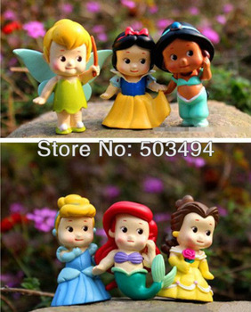 free shipping 5sets/lot High Quality PVC Princess Tinkerbell doll toy 6 pcs Collection Figure Retail