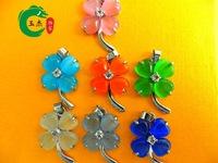 wholesale cheap 10pcs [Article] Opal pendant Moonstone Cat's Eye Necklace Clover Pendant
